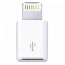 MICRO ADAPTADOR USB RELÂMPAGO 3GO A200 / MICRO USB FEMININO - RELÂMPAGO MASCULINO / BRANCO