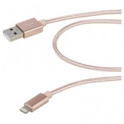CABO RELÂMPAGO USB VIVANCO 37567 / USB MASCULINO - RELÂMPAGO MASCULINO / 1.5M / ROSA