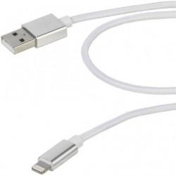 CABO RELÂMPAGO USB VIVANCO 38306 / USB MASCULINO - RELÂMPAGO MASCULINO / 2.5M / BRANCO