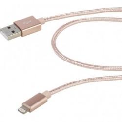 CABO RELÂMPAGO USB VIVANCO 38309 / USB MASCULINO - RELÂMPAGO MASCULINO / 2.5M / ROSA