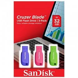 PENDRIVE 32GB SANDISK CRUZER LÂMINA USB 2.0 PACK 3