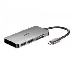 USB HUB D-LINK DUB-M610 / 2 USB 3.0 / UM RAIO 3/1 HDMI LEITOR DE CARTÃO / 1 SD / CINZENTO